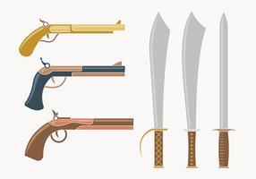 Collection d'armes mousquetaires vecteur