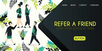 Référez-vous à un concept d'illustration vectorielle ami, groupe de personnes qui saluent et parlent avec référer un mot ami, peut utiliser pour, page de destination, modèle, interface utilisateur, web vecteur