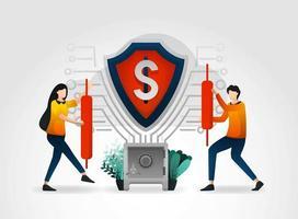personnage de dessin animé plat. Shield sauvegarde les données financières et la base de données des transactions des clients pour la banque. la banque fournit des services de sécurité professionnels pour tous les services de garde financière et de sécurité mondiale vecteur