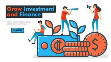 faire croître les investissements et les finances illustration vectorielle de ligne. investir de l'argent pour accroître les actifs financiers et espérer une croissance énorme des bénéfices. recherche et promotion de gestionnaires de placements. bannière de site Web de pages de destination