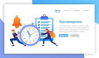 illustration vectorielle plane pour le web, bannière, page de destination, mobile. gagner du temps, chronomètre sur fond blanc, gestion du temps en entreprise, le temps c'est de l'argent, réaction rapide, rappel, réveil, horaire. vecteur