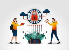 caractère plat. les fournisseurs de services Internet fournissent aux utilisateurs un service client et des systèmes de sécurité. assisté par des fournisseurs de l'industrie de la sécurité des services complets avec protection physique et de sécurité vecteur