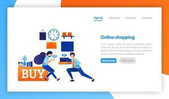 illustration vectorielle plane pour le web, bannière, page de destination, mobile, interface utilisateur. concept de magasinage en ligne, concept d'entreprise de boutique en ligne, achat et vente à domicile, livraison rapide de marchandises et de cadeaux en ligne vecteur