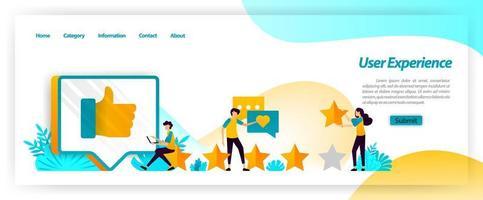 L'expérience utilisateur, y compris les commentaires, les évaluations et les avis, est une rétroaction dans la gestion de la satisfaction des clients lors de l'utilisation des services. concept d'illustration vectorielle pour la page de destination, ui ux, web, application mobile, affiche vecteur