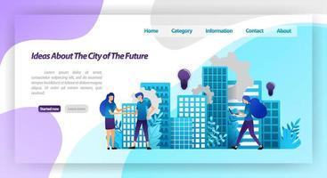idées pour une ville meilleure à l'avenir, mécanisme de ville intelligente et coopération avec des mains tremblantes. concept d'illustration vectorielle pour la page de destination, ui ux, web, application mobile, affiche, bannière, site Web, flyer vecteur