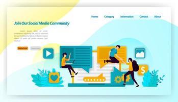 rejoignez notre communauté de médias sociaux. les gens influencent et invitent les abonnés à partager et à communiquer. concept d'illustration vectorielle pour la page de destination, ui ux, web, application mobile, affiche, bannière, site Web, flyer vecteur
