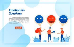 vent et discuter avec des emojis et des émoticônes. les gens communiquent, dialoguent, discutent, parlent de problèmes et s'amusent. concept d'illustration vectorielle pour page de destination, ui ux, web, application mobile, affiche, bannière, annonces vecteur