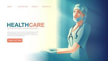 modèle de page de destination du service de santé avec infirmière vecteur