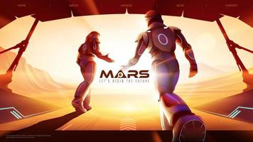 deux astronautes sortent du vaisseau spatial vers l'extérieur sur mars