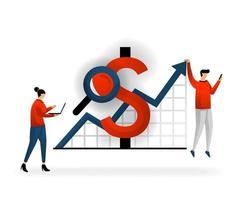 entreprise et promotion de l'illustration vectorielle. déterminer les revenus perçus sur les mots clés achetés, les paiements sur les promotions en ligne, le marketing via les réseaux. style de caractère .flat logo seo vecteur