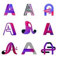 lettre un modèle de logo violet. logo élégant et décoratif moderne pour entreprise, entreprise de l'industrie et technologie. concept d'illustration vectorielle logo avec style libre, nature, ligne, brillant et abstrait vecteur