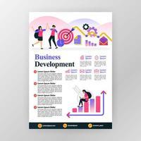 concept d'affiche de développement des affaires. augmenter les bénéfices en entreprise avec illustration de dessin animé plane vectorielle. flyer business brochure brochure couverture de magazine design espace de mise en page pour modèle d'impression format a4 vecteur