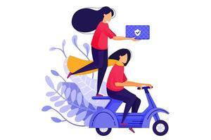 deux filles de courrier livrant des marchandises sur des scooters. service de transport de courrier de livraison logistique pour le commerce électronique. illustration vectorielle de caractère concept pour page de destination web, bannière, applications mobiles, carte
