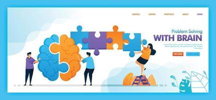 conception de vecteur de page de destination de la résolution de problèmes avec le cerveau. facile à modifier et à personnaliser. concept de design plat moderne de page Web, site Web, page d'accueil, applications mobiles. style plat illustration de personnage de dessin animé.