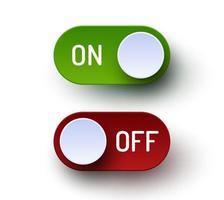 interrupteur à bascule marche / arrêt ensemble de boutons réalistes vecteur