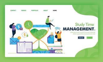 concept d'illustration de page de destination retour à l'école de gestion du temps d'étude. étudier l'éducation pour le marketing et la promotion peut utiliser pour le site Web, le Web, les applications mobiles d'interface utilisateur, le dépliant, l'affiche, l'application mobile, la brochure vecteur