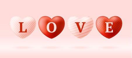 mot d'amour sur des coeurs réalistes vecteur