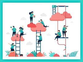 vecteur d'escalier, titre du poste, position. augmenter instantanément la position et le classement dans l'entreprise. essayez de monter l'escalier pour atteindre les nuages. travail d'équipe en entreprise. choisir la carrière, le titre du poste dans une organisation d'entreprise