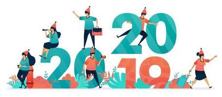 commencer une fête de fin d'année et Noël pour les chrétiens et les catholiques. commencez le compte à rebours le jour de l'an de 2019 à 2020. promotion, marketing et publicité avec des réductions en décembre et janvier vecteur