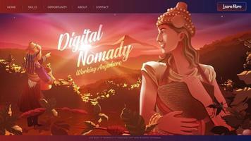 Dame nomade numérique de l'Ouest récolte des grains de café sur la montagne vecteur