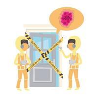 Pandémie de coronavirus Covid 19, des médecins avec des combinaisons de protection vérifient la quarantaine de température
