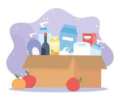 boîte en carton pleine avec du vin, produits de nettoyage de papier hygiénique alimentaire, achat en excès