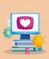 éducation en ligne, ordinateur sur l'idée de pile de livres apprendre