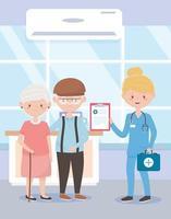 infirmière avec les grands-parents premiers soins médicaux, médecins et personnes âgées vecteur