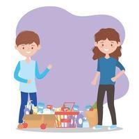 client satisfait avec de nombreux achats excédentaires de produits de supermarché vecteur