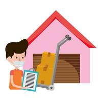 livreur entrepôt et charrette à bras avec boîtes commerce électronique achats en ligne coronavirus covid 19 vecteur