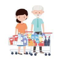 vieil homme et femme shopping avec des chariots vector design