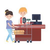 comptoir avec vendeur de caisse enregistreuse et conception de vecteur femme