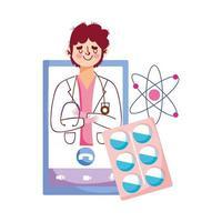isolé, homme, docteur, pilules, atome, et, smartphone, vecteur, conception