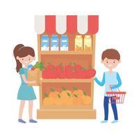 femme et homme, shopping, à, panier, et, produits, étagère, vecteur, conception