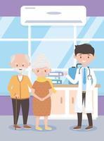 médecin professionnel et grand-mère clinique, médecins et personnes âgées vecteur