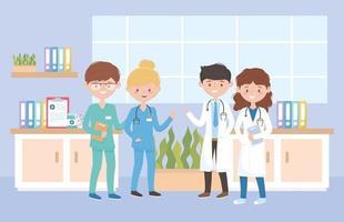 Médecins de sexe féminin et masculin personnel infirmier, médecins et personnes âgées vecteur