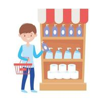 homme, achats, à, étagère panier, et, produits, vecteur, conception