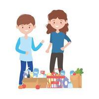 femme et homme, shopping, à, panier, boîte, sac, et, produits, vecteur, conception