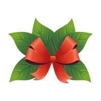 feuilles décoratives de noël avec ruban rouge