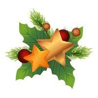 feuilles décoratives de noël avec des étoiles dorées