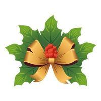 noeud doré de noël avec des feuilles décoratives
