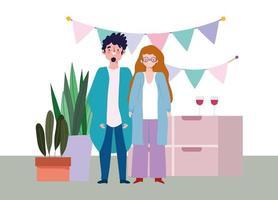 fête en ligne, anniversaire ou rencontre entre amis, homme et femme à la maison chapeau fanions décoration festive vecteur
