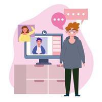 fête en ligne, anniversaire ou rencontre entre amis, hommes parlant devant une caméra d'ordinateur vecteur
