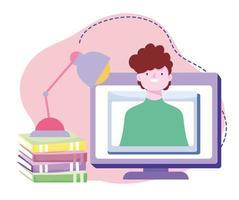 formation en ligne, homme à l'écran, livres de séminaire informatique, cours de développement des connaissances en utilisant Internet vecteur