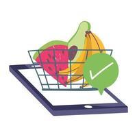 marché en ligne, panier de smartphone coche fruits, livraison de nourriture en épicerie vecteur