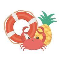 Voyage d'été et vacances plage bouée de sauvetage crabe et ananas icône du design isolé vecteur