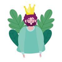 bonne fête des pères, papa barbu avec des feuilles d'amour couronne feuillage