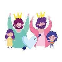 bonne fête des pères, papas avec couronnes fille et fils coeur amour caricature vecteur