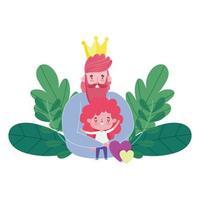 bonne fête des pères, papa avec couronne étreignant un fils, amour de cœur vecteur