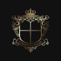 emblème élégant bouclier doré vecteur